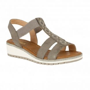 Lotus Womens Etta Pewter Wedge Open-Toe Sandals